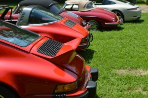 A mix of old and newer Porsches